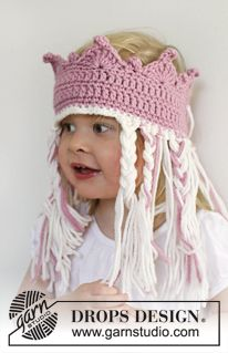 """Crochet DROPS crown with hair in """"Nepal"""". ~ DROPS Design"""