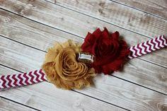 Florida State inspired football baby headband, garnet and gold headband, shabby chic, Seminoles headband by AshlynsAccessoryCo on Etsy