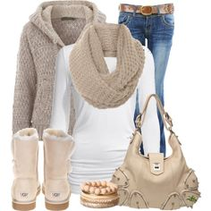 Tan Sweater & Scarf.  White Top.  Beige Boots & Purse.  Blue jeans with Brown Belt.