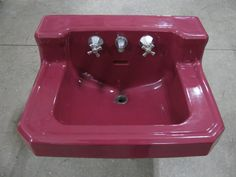 Another burgundy (maroon) wall hanging vintage wall mount sink! Vintage Sink, Vintage Walls, Maroon Bathroom, Maroon Walls, Old Sink, Wall Mounted Sink, Love Chair, Outdoor Bathrooms, Just Amazing