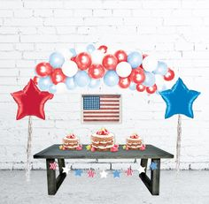 4th of July Decorations Balloon Arch, Balloon Garland, DIY Balloon Garland Kit, Balloon Arch, Patriotic Decor, Fourth of July Decorations by PomJoyFun on Etsy