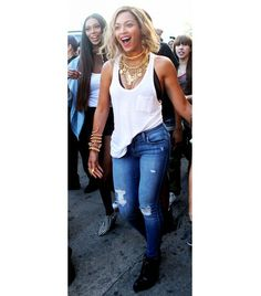 @Who What Wear - Queen B Lesson #8: The casual way to Work It Out: simple tank + tons of jewels