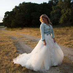 Rustic Austin anniversary shoot. I love that she dressed down her wedding gown with a denim shirt!