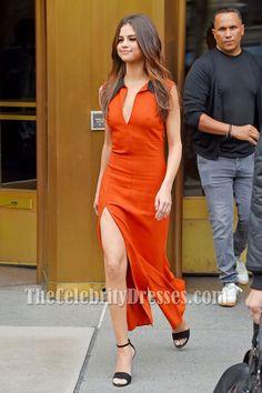 bf213752569 Selena Gomez Orange Red Sexy High Slit Sheath Prom Dress Z100 Radio Studio  2017 - TheCelebrityDresses