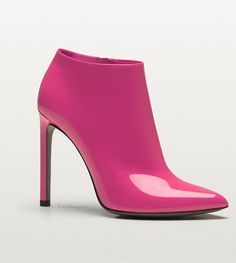 Gucci gloria shocking pink patent leather high heel bootie