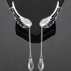 Fashion Crystal Angel Wings Earrings Feather Ear Cuff Ear Clip Tassels Earrings Statemetn Jewelry Gifts For Women Cuff Earrings, Fringe Earrings, Pendant Earrings, Crystal Earrings, Clip On Earrings, Silver Earrings, Silver Jewelry, Crystal Rhinestone, Silver Ring