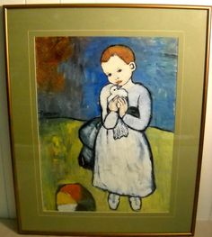 BEAUTIFUL PICASSO PRINT * CHILD AND DOVE * CONTEMPORARY FRAME * $25.00