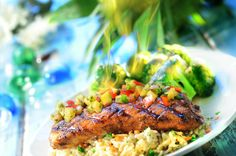 Grilled Salmon Kingston Style served with Island rice and tangy Teriyaki broccoli http://www.cheeseburgerinparadise.com/menu/