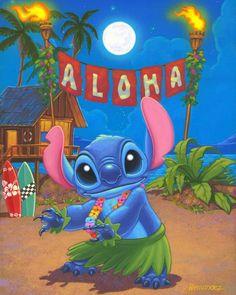 Hula Stitch: By Manuel Hernandez, Disney Fine Art Lilo Stitch, Cute Stitch, Stitch Kit, Disney Stitch, Images Disney, Disney Pictures, Disney Magic, Walt Disney, Disney Fine Art