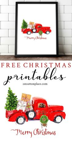 Free Christmas Printables and DIY holiday wall decor ideas. Get tips for printin… Free Christmas Printables and DIY holiday wall Christmas Truck, Noel Christmas, Rustic Christmas, Christmas Projects, All Things Christmas, Holiday Crafts, Vintage Christmas, Christmas Ornaments, Lego Christmas