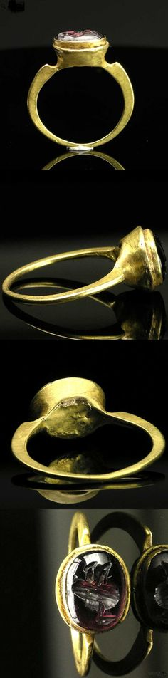 A Late Roman Gold & Intaglio Ring, ca 3rd-4th Century A.D. Love the shoulders.