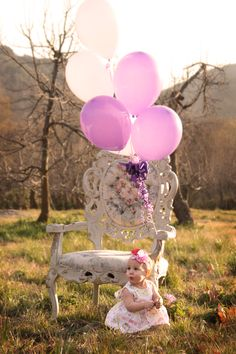 Baby Girl Birthday Pictures - similar to another, but like this pose better...
