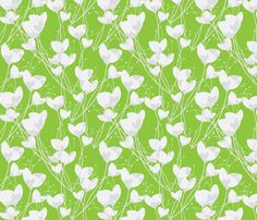 Primrose Green Background fabric by joanmclemore, available from Spoonflower