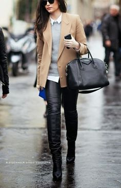 black, leather, high, knee, boots