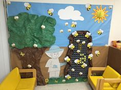 Apicultor y el panal Bee Activities, Animal Activities, Classroom Design, Classroom Decor, Crafts For Kids, Arts And Crafts, Bee Theme, School Themes, Garden Theme