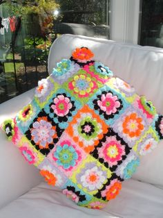Crochet Cushion Bright Flowers With A Touch Of Sparkle by LillyBev, £35.00