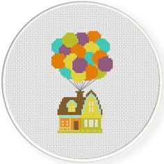 Handmade Unframed Balloon House Cross Stitch by CustomCraftJewelry