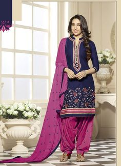 Blue Cotton Patiala Suit