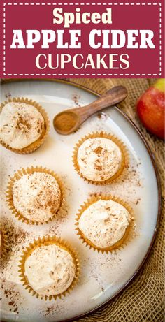 Easy Spiced Apple Cider Cupcakes by Plating Pixels. The best, moist cupcakes for fall recipes. Cake mix with apple juice, frosted with apple cider cream cheese frosting, cinnamon, and nutmeg. - platingpixels.com [ad] #BakeInTheFun