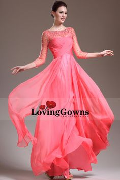 5fd5dab9661 New Sleeve A Line Floor Length Beaded Bodice Shiny Pink Prom Dresses