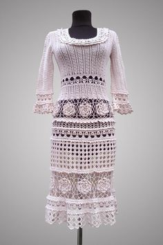 The Royal Rose. Dusty rose cotton cocktail crochet dress. Ready to ship.