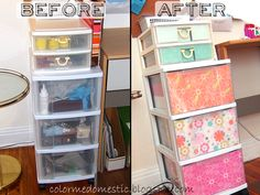 Pretty up your clear drawer cart in 10 minutes with scrapbook paper Before and After from Color Me Domestic