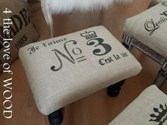 No 3 C'est la vie Grain Sack FootStool Removable by Firstfinds