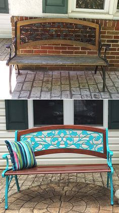 https://flic.kr/p/HRkUta | Old garden bench repainted - before & after | This was an old iron and wood garden bench – well worn, from years of being outdoors and having big wet planters on the seat — that we repainted with a mix of stains (our own custom 'house color'!), and Rust-Oleum Painter's Touch 2X in Gloss Seaside. That aqua color REALLY pops, especially with the added outdoor pillow from Lowes.