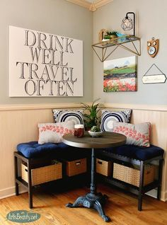 diy eating nook using Ikea benches Bistro table corner booth bohemian decor eclectic style kitchen table reading nook travel wanderlust