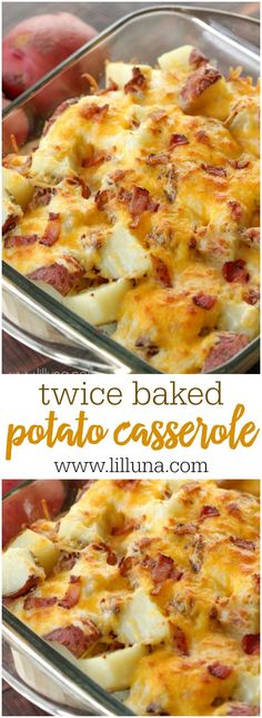 Twice Baked Potato Casserole - a simple and delicious side dish of potatoes, cheese, sour cream and bacon. A family favorite recipe!