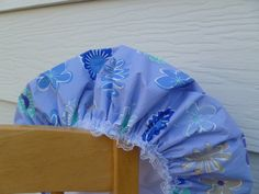 Waterproof Shower Cap Sky Blue Gray Daisies by GiftCreation, $18.50