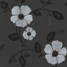 Sample Zync Black Modern Floral Wallpaper design by Brewster Home Fashions
