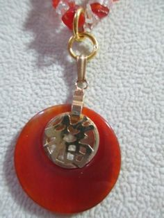 Necklace Quartz and Carnelian Chips with Pendant Chinese Writing Vintage | eBay