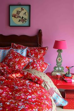 PiP Studio Chinese Rose Duvet Cover and Pillowcase Set, Red Bed Sets, Duvet Sets, Home Bedroom, Bedroom Decor, Bedrooms, Bedroom Colors, Girls Bedroom, Rose Duvet Cover, Studio Bed