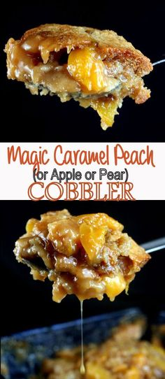 use gf flour and an extra tsp b powder Magic Caramel Peach Cobbler Recipe. Amazing with Apples or Pears too! The Magic is in the batter which rises to the top to form a buttery, sugary crust. Two of my readers won blue ribbons with it last summer! Pear Recipes, Fruit Recipes, Fall Recipes, Sweet Recipes, Dessert Recipes, Cooking Recipes, Just Desserts, Delicious Desserts, Yummy Food