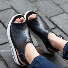 Leather Pure Color Peep Toe Open Heel Hook Loop Platform Shake Shoes
