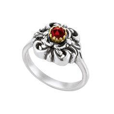 d'argento silberner Ring mit Granat Auffallender Ring aus Silber 925 Sterling. Ein strahlender Granat wird durch die teilweise Vergoldung besonders edel hervorgehoben. Die Oxidierung verleiht dem Silber eine geschwärzte Optik.
