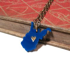 West Virginia Love Necklace - West Virginia University - WVU - Blue with Gold Heart