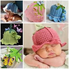 Bluebell Cloche Hats This Bluebell Crochet Hat Pattern is just one of many free crochet patterns in our post. You will find a crochet baby bluebell hat and more in our post. Crochet Baby Bonnet, Crochet Baby Beanie, Crochet Bebe, Cute Crochet, Crochet For Kids, Baby Knitting, Knit Crochet, Crochet Hats, Crochet Headbands