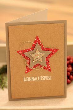 Danielas Stempelwelt: Framelits Sterne Daniela's stamp world: Framelit's stars Diy Christmas Cards, Stampin Up Christmas, Christmas Art, Handmade Christmas, Holiday Cards, Paper Cards, Diy Cards, Stamp World, Star Cards