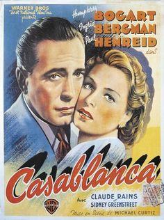 plakat z filmu Casablanca z Humphrey Bogart, Ingrid Bergman