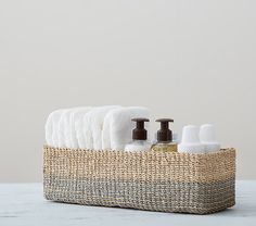 Blue Abaca Changing Table Storage   Pottery Barn Kids