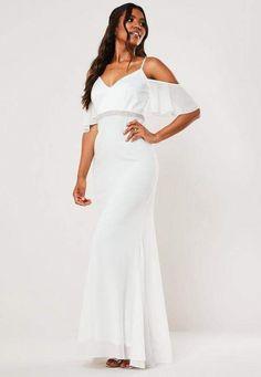 GIRLS CREAMY WHITE DIAMONTE GRECIAN FULL LENGTH CHIFFON MAXI DRESS with TIE BELT