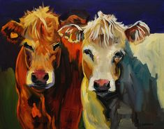 Cow Buddies Painting  - Cow Buddies Fine Art Print by Diane Whitehead