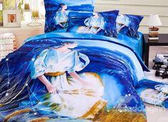 Mystic Blue #Virgo #3D Printed 4-Piece Cotton Duvet Cover Sets