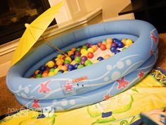 A cute idea for gray, winter days. DIY indoor pool for the kids, bring summer to them all year round. Sunscreen need not apply.