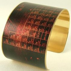 Periodic Table of Elements - Steampunk Brass Cuff Bracelet - Chemistry Science…