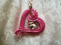 $16.50 Pink Easter Bunny Rabbit Heart Handcrafted Copper Wire Wrapped Necklace #Handmade #Pendant