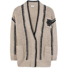 Brunello Cucinelli Knitted Wool-Blend Cardigan ($1,975) ❤ liked on Polyvore featuring tops, cardigans, beige, brunello cucinelli cardigan, pink top, beige cardigan, brunello cucinelli top and brunello cucinelli