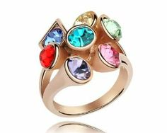 Swarovski Elements Multicolored Crystal Gold Plate Cocktail Ring RAG2603WB ninabox. $20.99
